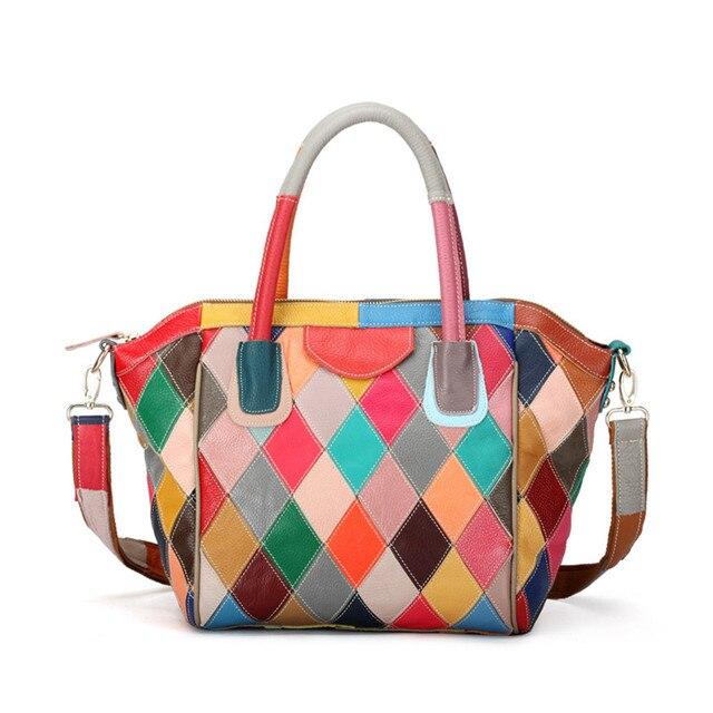 Luxury Crystals 2017 Women Evening Bags Designer Genuine Leather Woman Handbags Multicolor Patchwork Messenger Bag