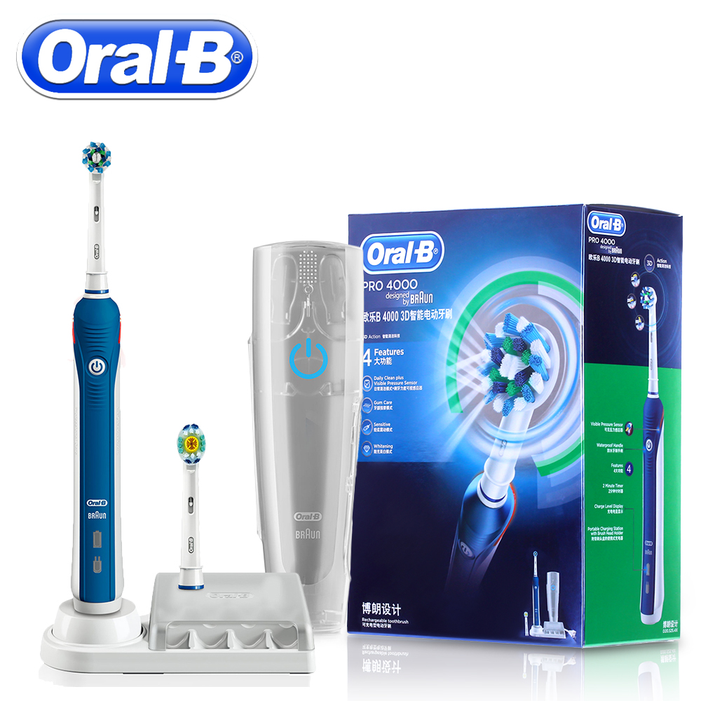 Oral B Sonic Electric Toothbrush Teeth Whitening PRO4000 Best 3D Smart Rechargeable Ultrasonic Tooth Brush Adult Daily Clean image