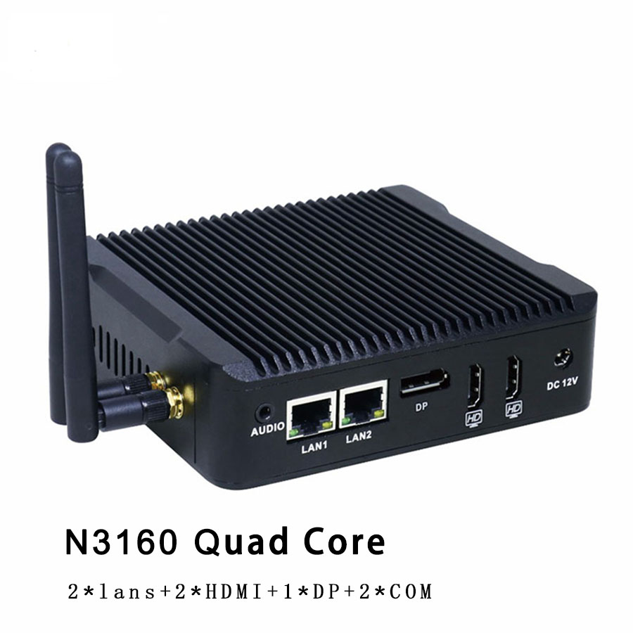 Quad Core N3160 Fanless Mini PC Windows 10 7 8 Dual LAN NIC Barebone PC Micro Computer WIFI DP PFsense As Router Firewall Server