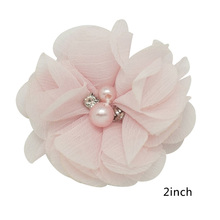 1 Pc Chiffon Flowers Patches for Girls DIY Hair Bows without Clips Pearls Hair Accessories On Sales 15 Colors Available