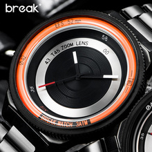 BREAK Men Women Unisex Top Luxury Brand Stainless Steel Strap Fashion Casual Quartz Sports Wristwatches Unique Creative Watches
