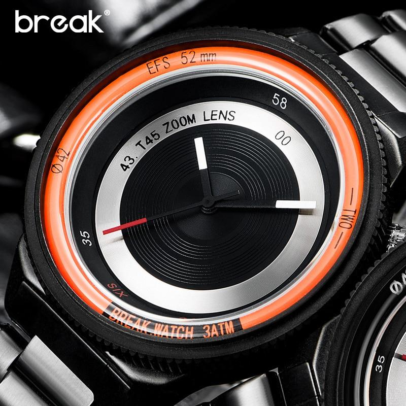 Prix pour Break hommes femmes unisexe top marque de luxe bracelet en acier inoxydable de mode casual quartz sport montres unique creative montres