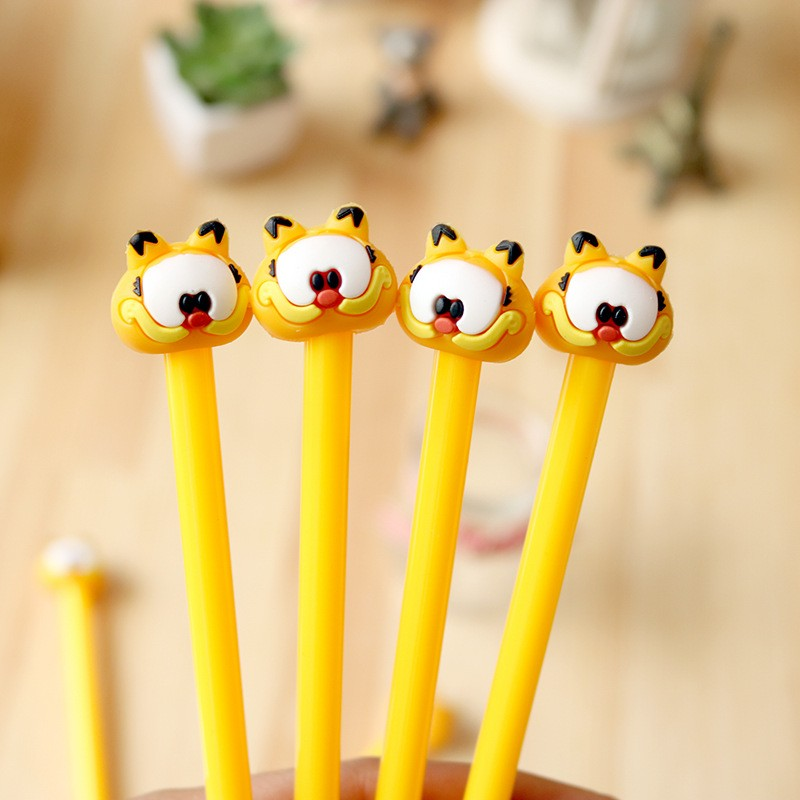 2pcs/lot Garfield gel pen Cute anima pens material escolar kawaii stationery canetas escolar school office supplies for children missufe high waist skinny dark blue jeans women chic back long zipper elastic stretch pencil pants