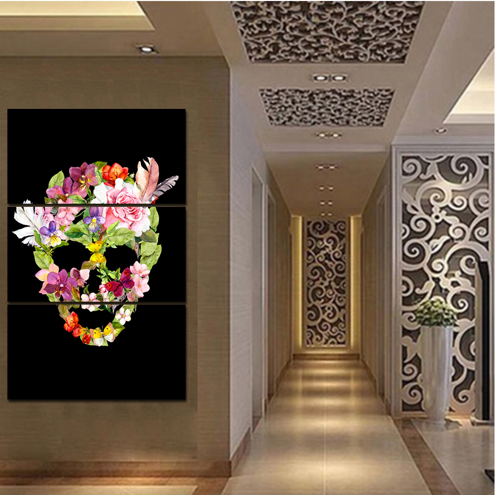 Leading Tenphy 3 HD Watercolor Canvas Painting Flower And Skull Head Living Room Bedroom Decorative Painting Free Shipping
