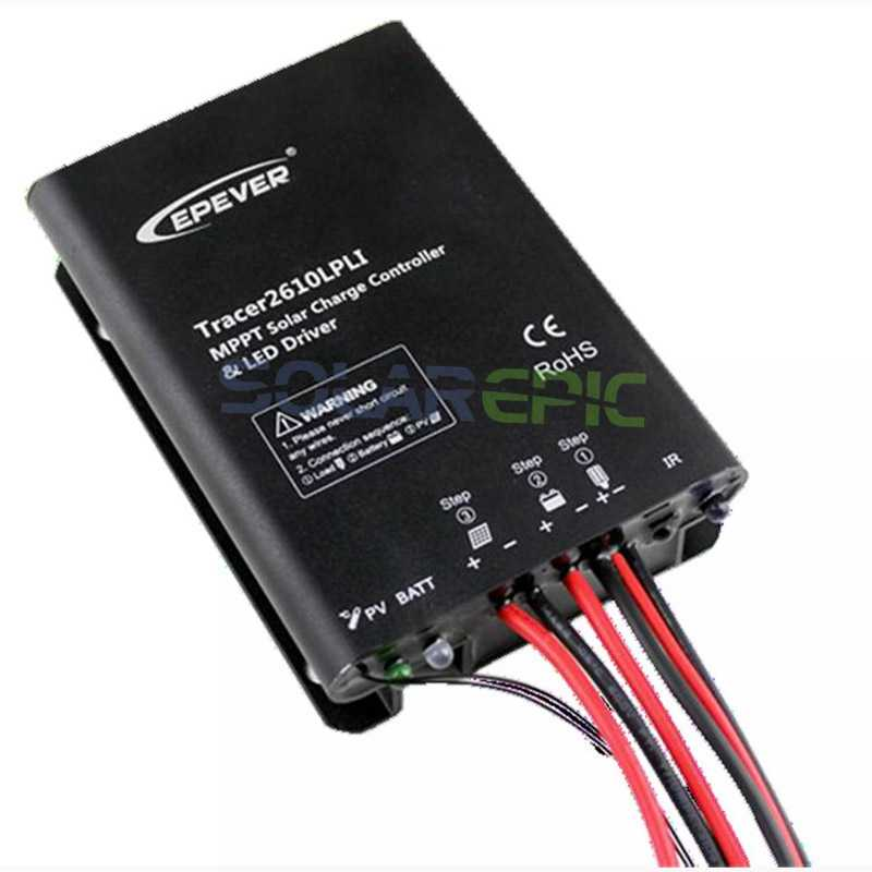 Epever 10A MPPT Solar Regulator 12V/24V Waterproof Lithium Battery Solar Charge Controller With Built-in LED Driver Tracer LPLI