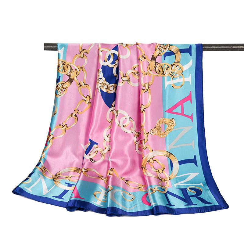 2019 nueva bufanda de mujer fina primavera chal bufanda mujeres China satinado moda impreso femenino bufandas cuadradas envolturas 90*90CM