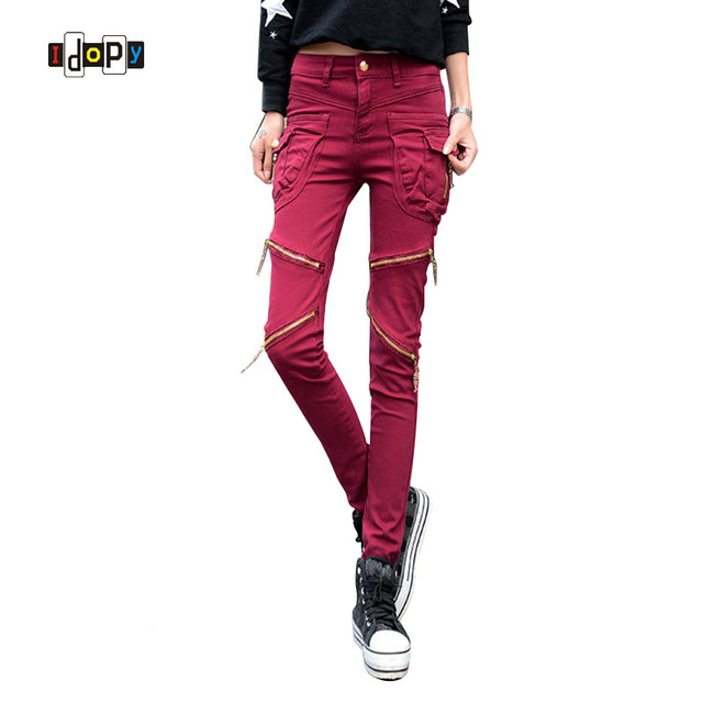 2016 New Spring Fashion Women`s Harem Jeans Punk Style Women Jeans With Zippers Skinny Slim Fit Pencil Denim Pants