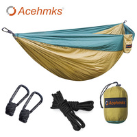 Acehmks Double Hammock Ultralight Parachute Hammock Chair With Tree Ropes For Outdoor Camp Hiking Travel Anti UV 300CM*200CM