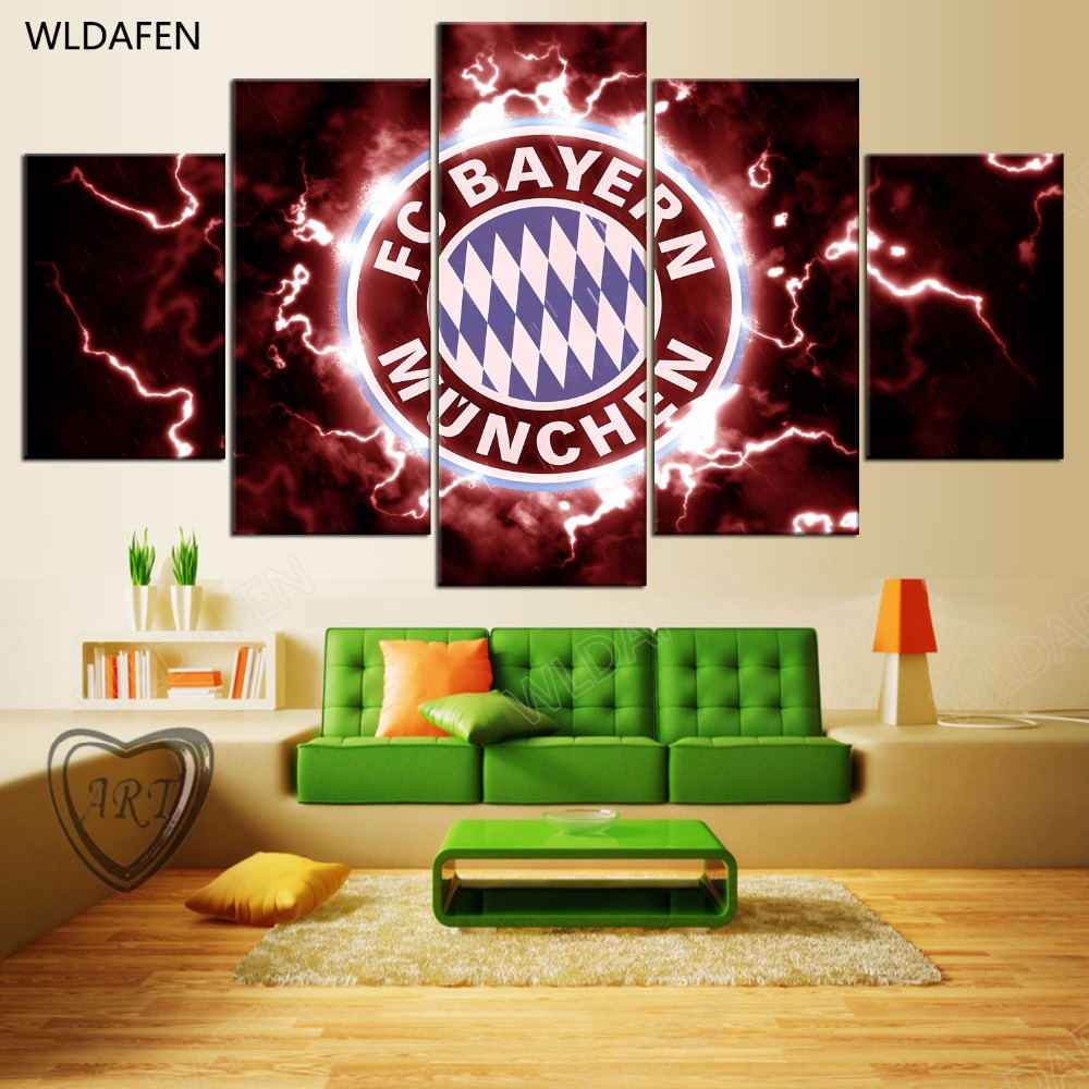 5 Pieces Sports Team Deco Fans Posters Oil Painting On Canvas Modern Home Pictures Prints Decor Living Room PH4-1824