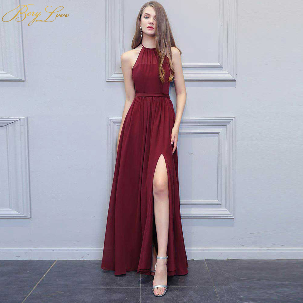 Sexy Burgundy Evening Dress 2019 High Slit Long Halter Backless Prom Gown Formal Dress Plus Prom Long Dress robe de soiree gown