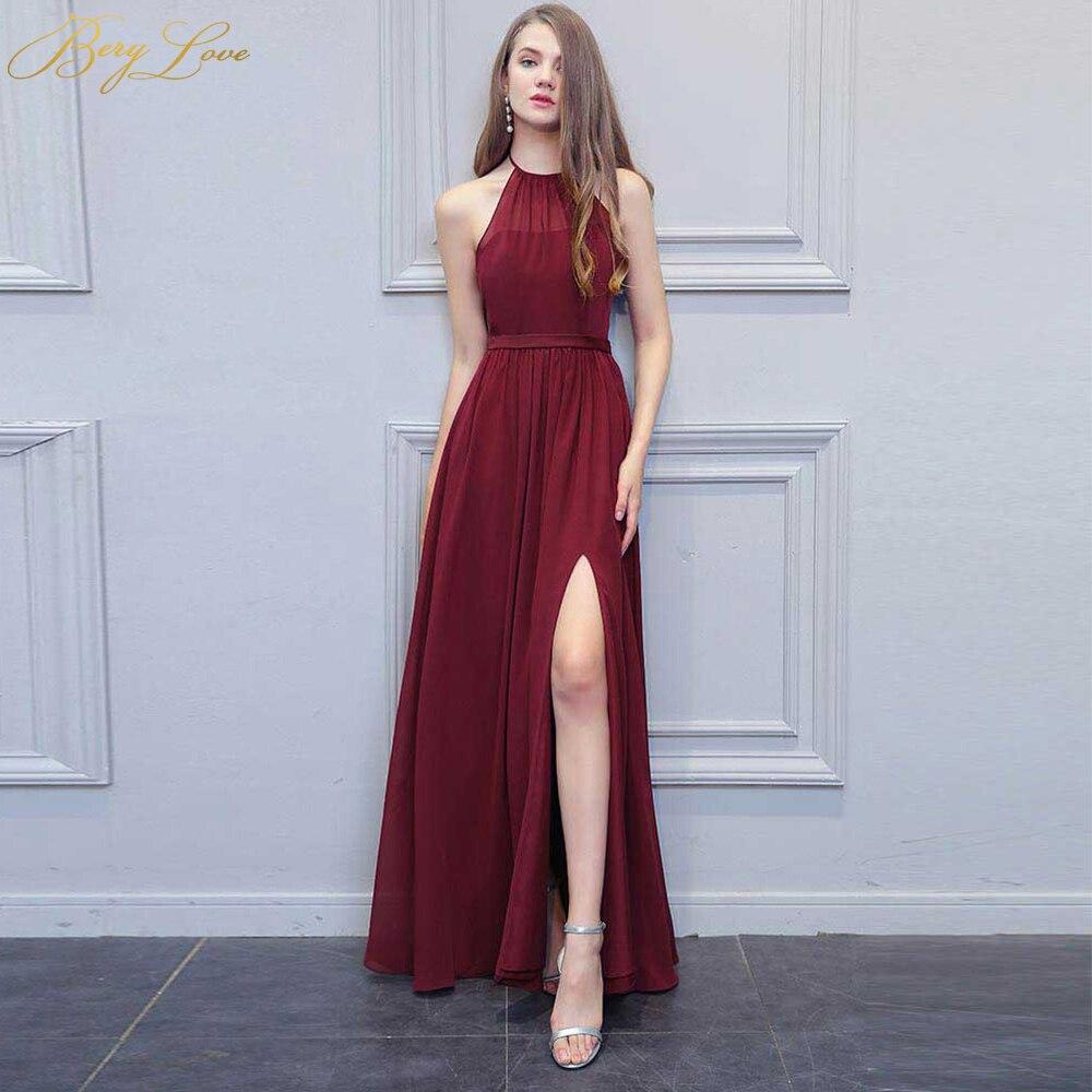 Sexy Burgundy   Evening     Dress   2019 High Slit Long Halter Backless Prom Gown Formal   Dress   Plus Prom Long   Dress   robe de soiree