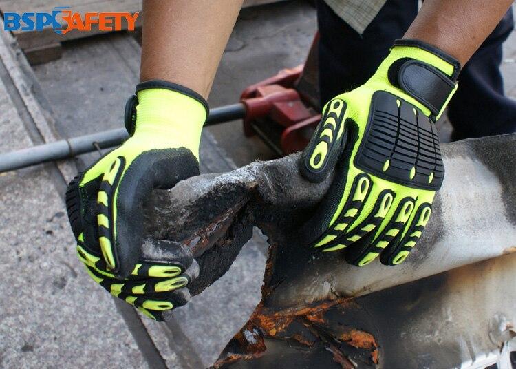 Choque que absorve as luvas resistentes do trabalho da prova de impacto da segurança do campo do gás do óleo da vibração anti