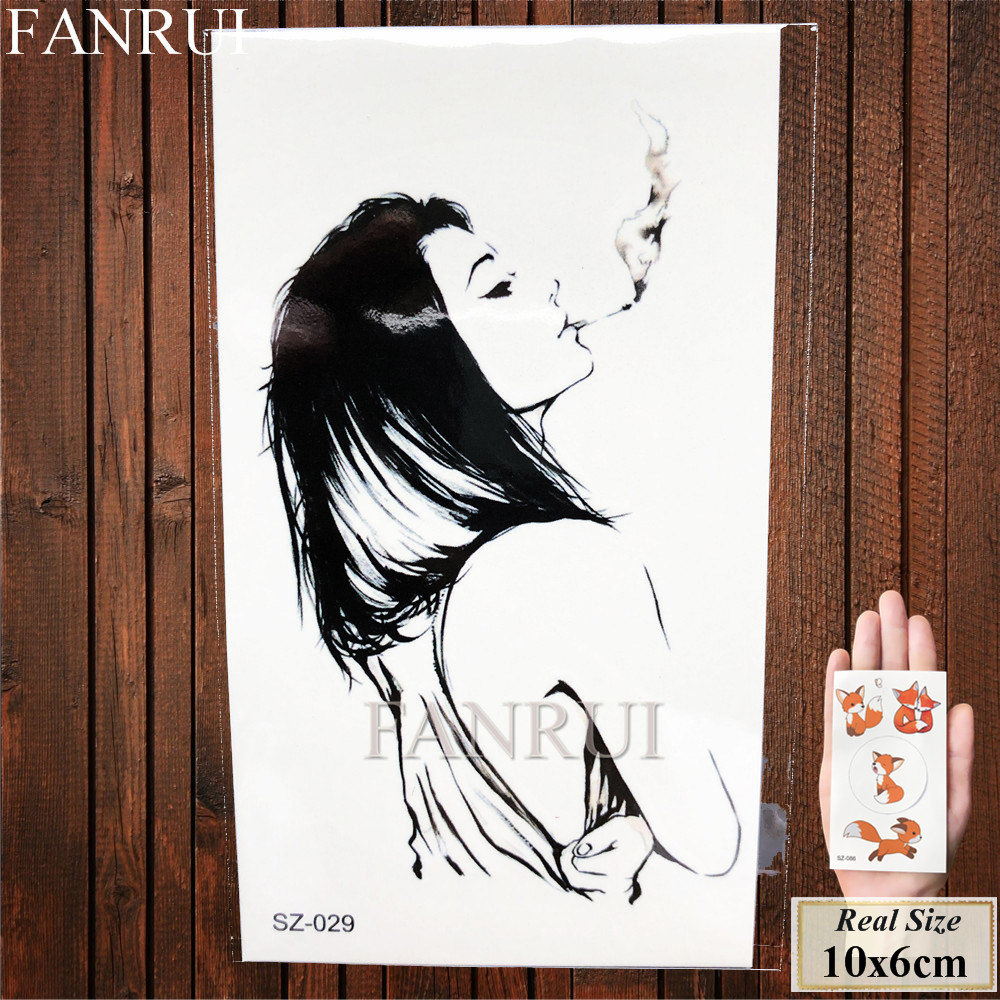 FANRUI Temporary Tattoos Illustration Smoking Women Fake Arm Tattoos Stickers Gangster Punk Bad Girls Black Waterproof Tatoos