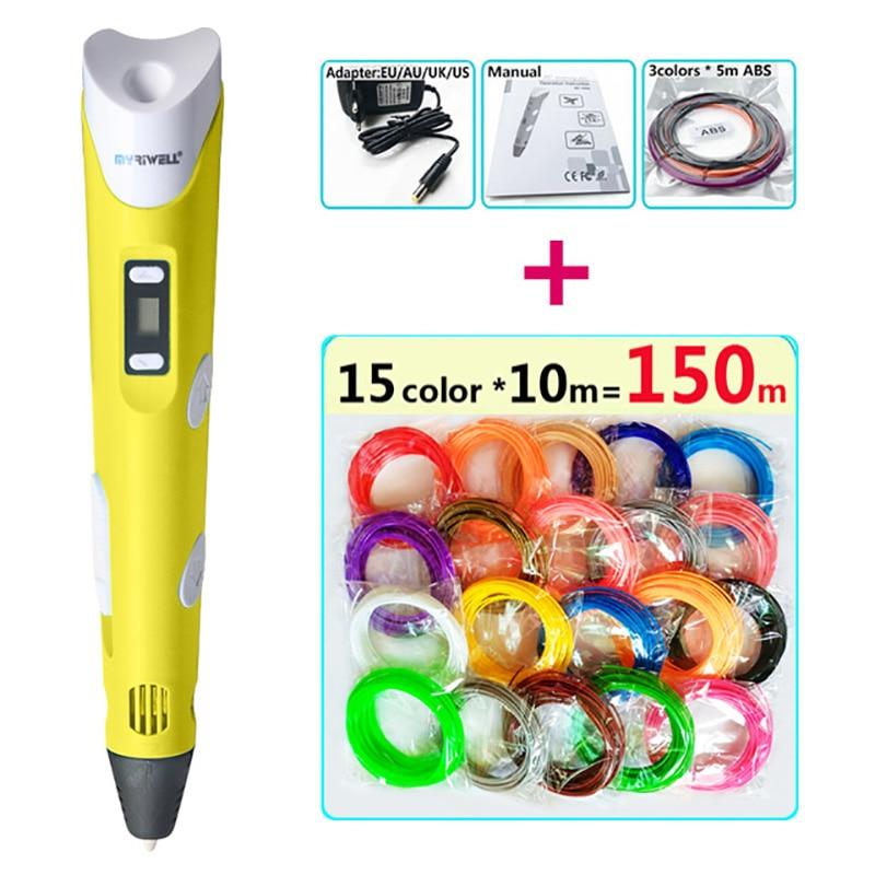 цена myriwell 3 d pen 3d pens + 150m abs filament pla 1.75mm 3d model Creative 3d pen Best gift for Kids 3d printed pen-3d doodle pen