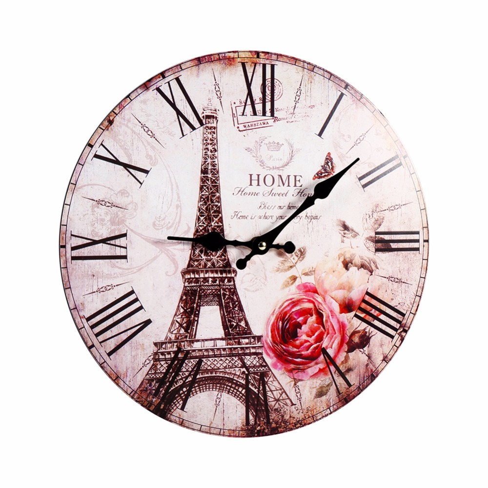 New Home Decoration Roman Numeral Wall Clock Silent Living Room Wall Clock  The Eiffel Tower Modern Meeting Room Wall Clock Gift In Wall Clocks From  Home ...