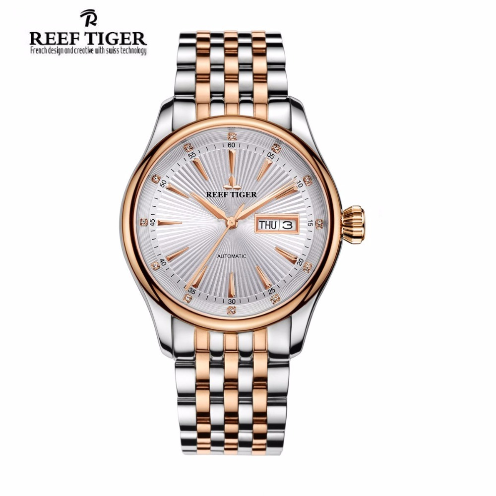 2017 New Reef Tiger/RT Dress Automatic Watch with Date Day Rose Gold Tone Analog Watches for Men RGA8232 yn e3 rt ttl radio trigger speedlite transmitter as st e3 rt for canon 600ex rt new arrival