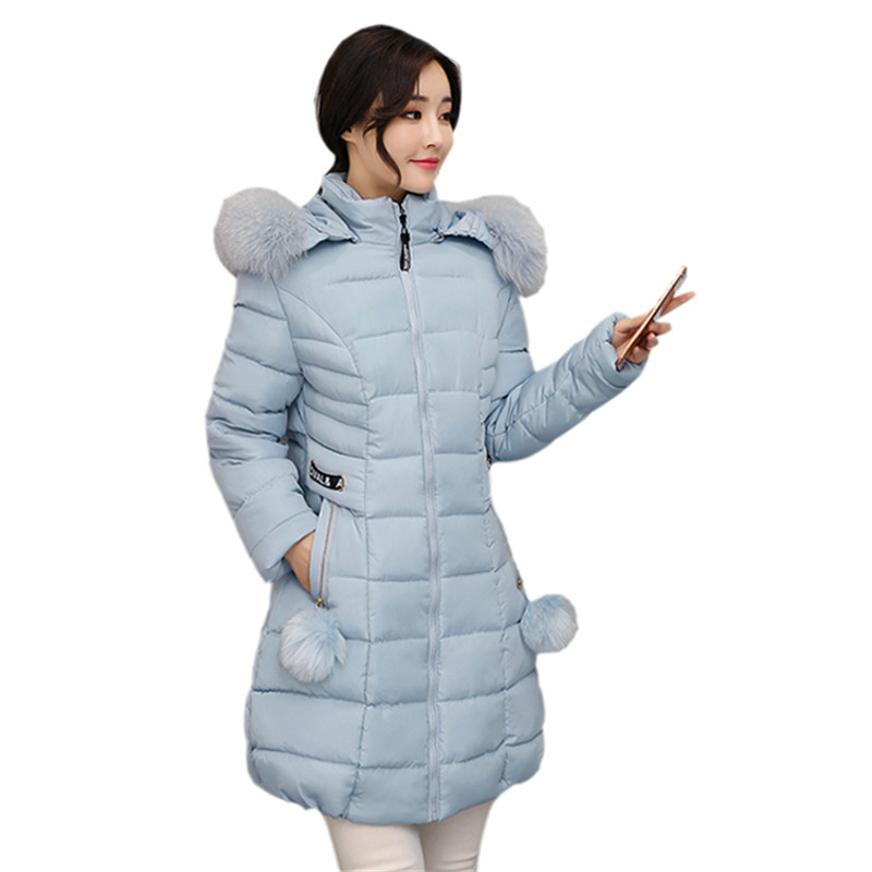 Winter Long Hooded Warm Cotton Padded Overcoat Fur Collar Solid Jacket Women Large Size Parka Wadded Autumn Jacket Women TT3196 2017 new autumn winter cotton coats women vintage print long hooded thickening cotton padded jacket warm overcoat plus size z162
