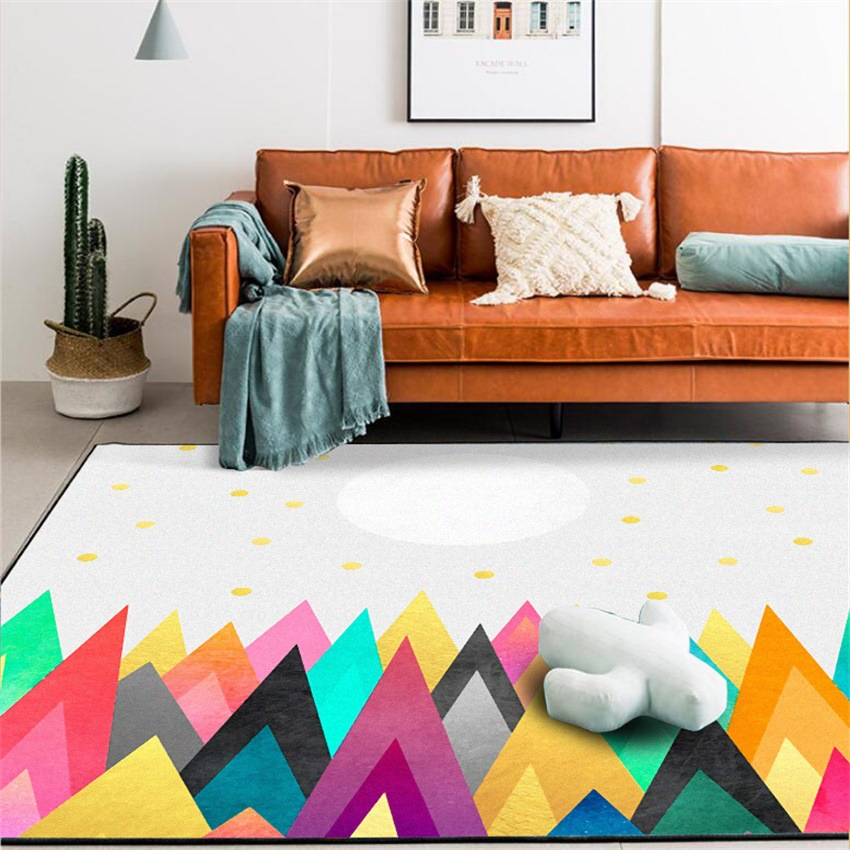 Fashion Color mountain sun door mat Bedroom anti-slip custom made plush carpet living room floor bedside rug