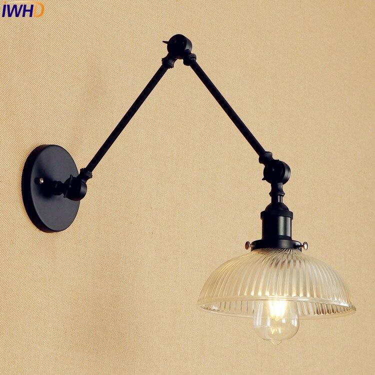 iwhd lampada led de parede lampada preta de vidro e vintage para quarto braco longo ajustavel