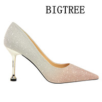 BIGTREE 2018 Shoes Woman High Heel 4 Colors Pointed Toe PU Bling Thin Heels Slip On