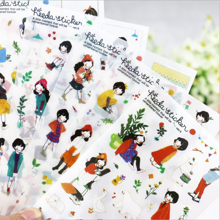 6 Pcs /Pack Heeda Second Season Forest Sweet Girl Korean Girl Stickers DIY Diary Planner PVC Decorative Stickers fashion leaf pattern decorative front back pvc stickers set for iphone 6 4 7 grass green