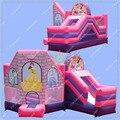 ГОРЯЧИЕ Продажи Принцесса Надувные Надувной Замок, 6 м * 4.5 м Коммерческих Отказов Дом с Ползунком, Прыжки Замок для Детей