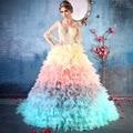 2017 conto De Fadas Primavera Verão As Mulheres Se Vestem V pescoço Applique Ball Vestido Vestidos Quinceanera Vestidos Doce 16 vestidos Coloridos