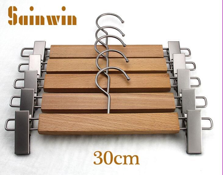 Sainwin 10 ชิ้น/ล็อตด้านบน 30 ซม. ไม้เกรดกางเกงคลิปแขวนไม้ธรรมชาติสีสแตนเลสคลิปเสื้อผ้า Rack 2 สไตล์-ใน ชั้นและมุ้งตากอาหาร จาก บ้านและสวน บน   1