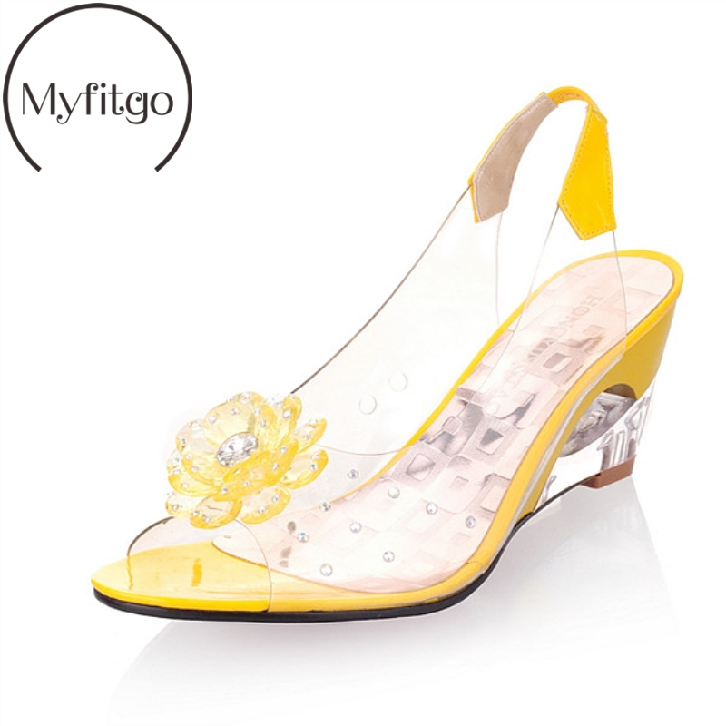 Myfitgo Clear Summer Women Sandals Wedges Heels Shoes Party Crystal Female Jelly Shoes Women Slingback Sandals Slip On Fashion