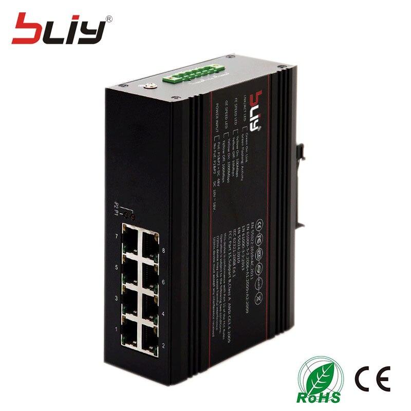 Bliy 8GT vente chaude 8 port gigabit complet commutateur ethernet industriel 10/100/1000 M commutateur fibre gigabit poe commutateur DC10 ~ 58 V
