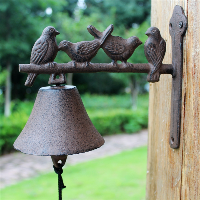 Cast Iron Welcome Dinner Bell Birds On Perch Wall Mount