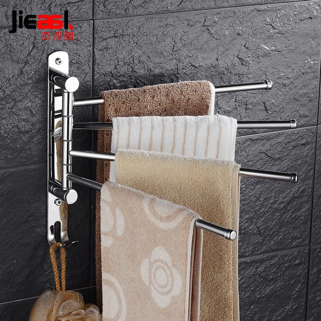 Stainless Steel Towel Hanger Brand Towel Rack Wall Mount Swivel Towel Holder Rail Bathroom Rotating 3 Arm Towel Bar with Hooks