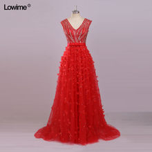 Long Red Sequin Formal Evening Party Dress Turkish Arabic Evening Gowns Dresses With Crystals Robe De Soiree Avondjurk Galajurk(China)
