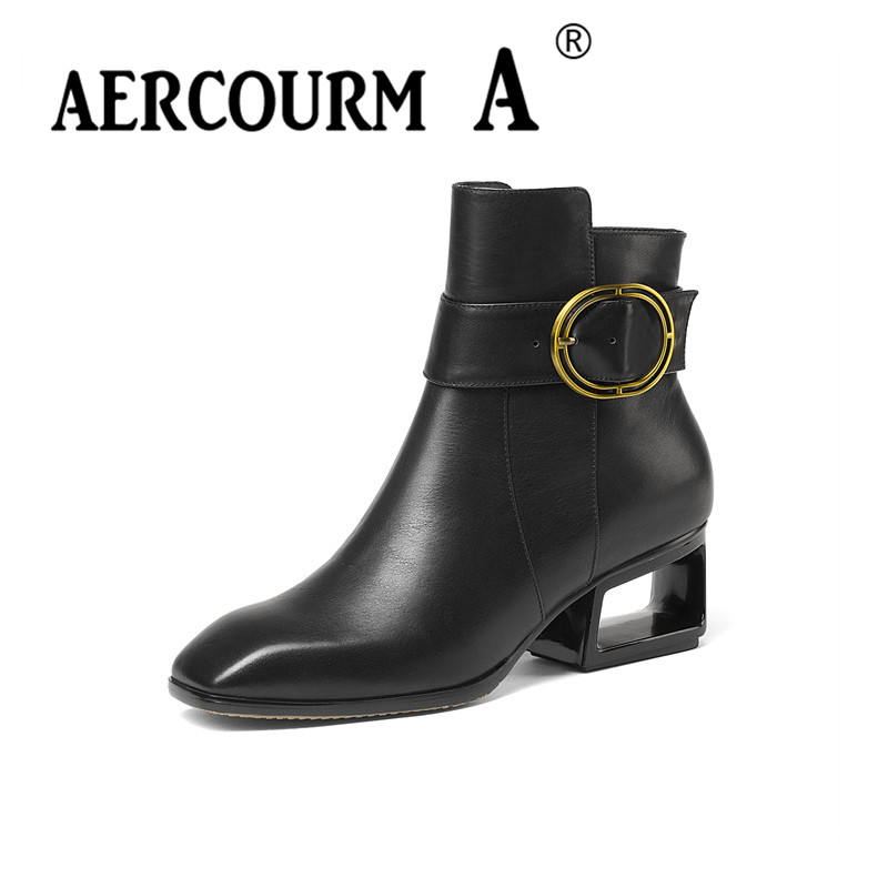 Aercourm A 2017 Women Genuine Leathe Ankle Boots Winter Cowhide Shoes Party Boots High Quality Boots Square Toe Shoes Metal H953