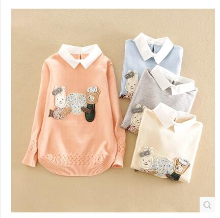 Children s clothing female child sweater 2016 spring and autumn child pullover child sweater turn down