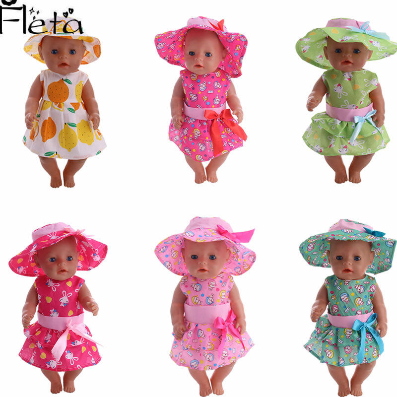 Fleta Dolls 6 Kinds Of Clothes New Fashion Hat + Skirt Suit For 18 Inch Or 43 Cm Dolls To Send Children Birthday Gifts
