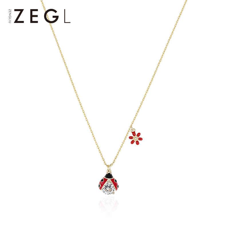 ZEGL 925 เงินแฟนสร้อยคอหญิง niche สร้อยคอดอกไม้และ Seven-Star Ladybug สร้อยคอ