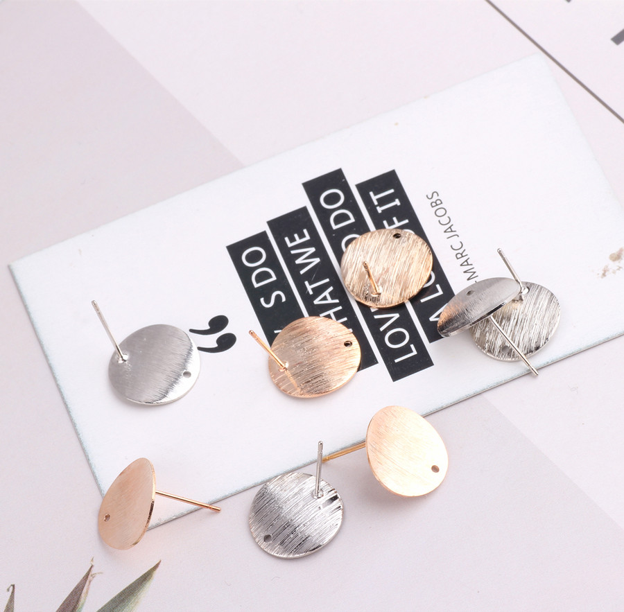 6PCS Imitation Rhodium And Champagne Gold Color Plated Brass Disk Round Stud Earrings For Fashion Jewelry Making Accessories