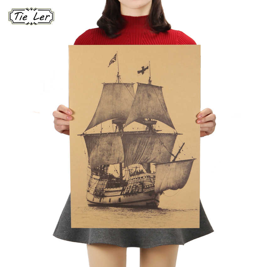 TIE LER Big Retro Sailboat Famous View Classic Photo Kraft Paper Bar Poster Wall Sticker Retro Decorative Painting 51.5x36cm