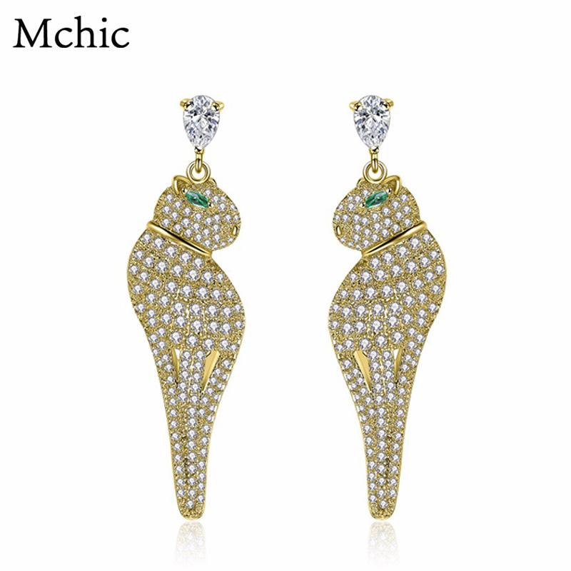 Mchic Top Fashion Luxury Exquisite Cute Sea Dog Animal Earrings AAA+ Cubic Zirconia Chunky Earrings Female Wedding Party Gift
