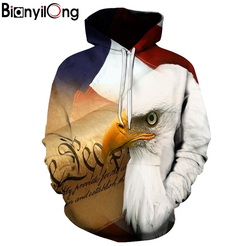 BIANYILONG 2018 Eagle 3D Print Hoodies Sweatshirts Men Fashion American Flag Hooded Sweats Tops Hip Hop Unisex Graphic Pullover
