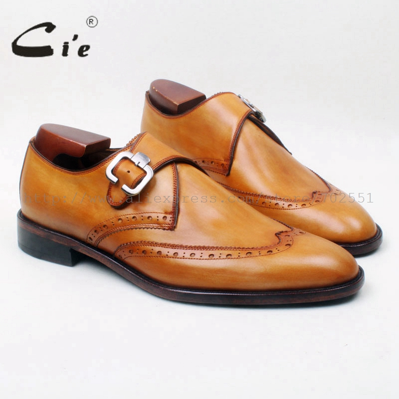 цены  cie Round Toe Wing-Tips Single Monk Straps Hand-Painted  Brown 100%Genuine Calf Leather Breathable Bottom Outsole Men ShoeMS129