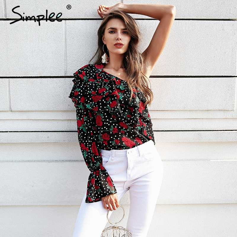 Simplee One shoulder floral boho blouse women Ruffle chiffon long sleeve blouse shirt Summer beach blusas sexy black tops 2018