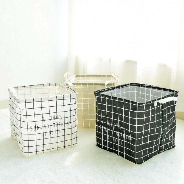 New Grid Waterproof Laundry Hamper Foldable Storage Baskets Home Decoration Barrel Kids Toy Organizer Square