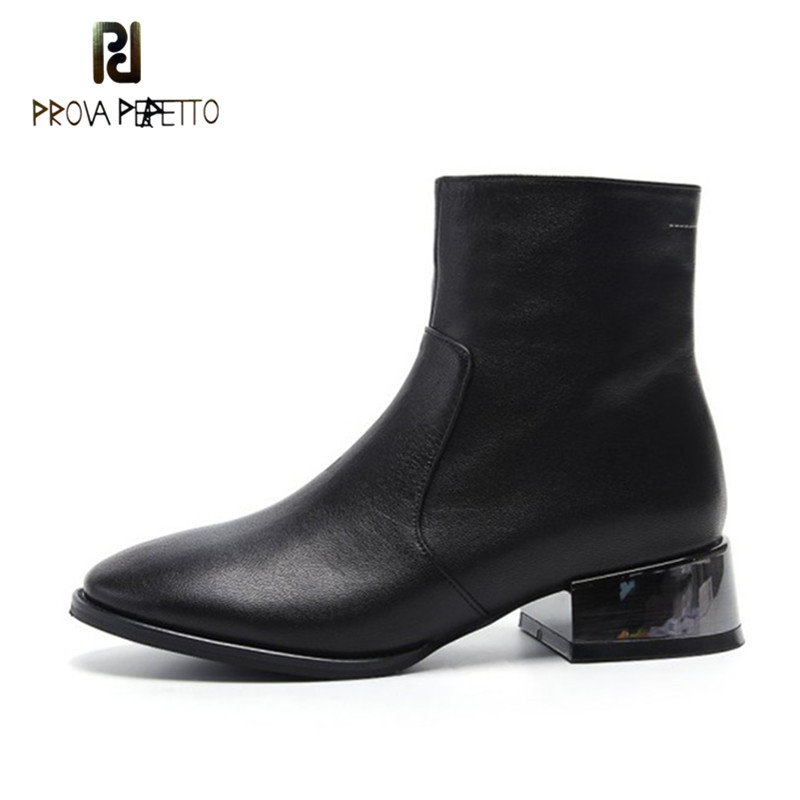 Prova Perfetto Spring Autumn New Product Comfort Genuine Leather Solid Boots Classics Style Solid Round Toe Low Heel Martin Boot prova perfetto red color punk style genuine leather thick bottom woman mid boots solid round toe low heel rivet martin boots