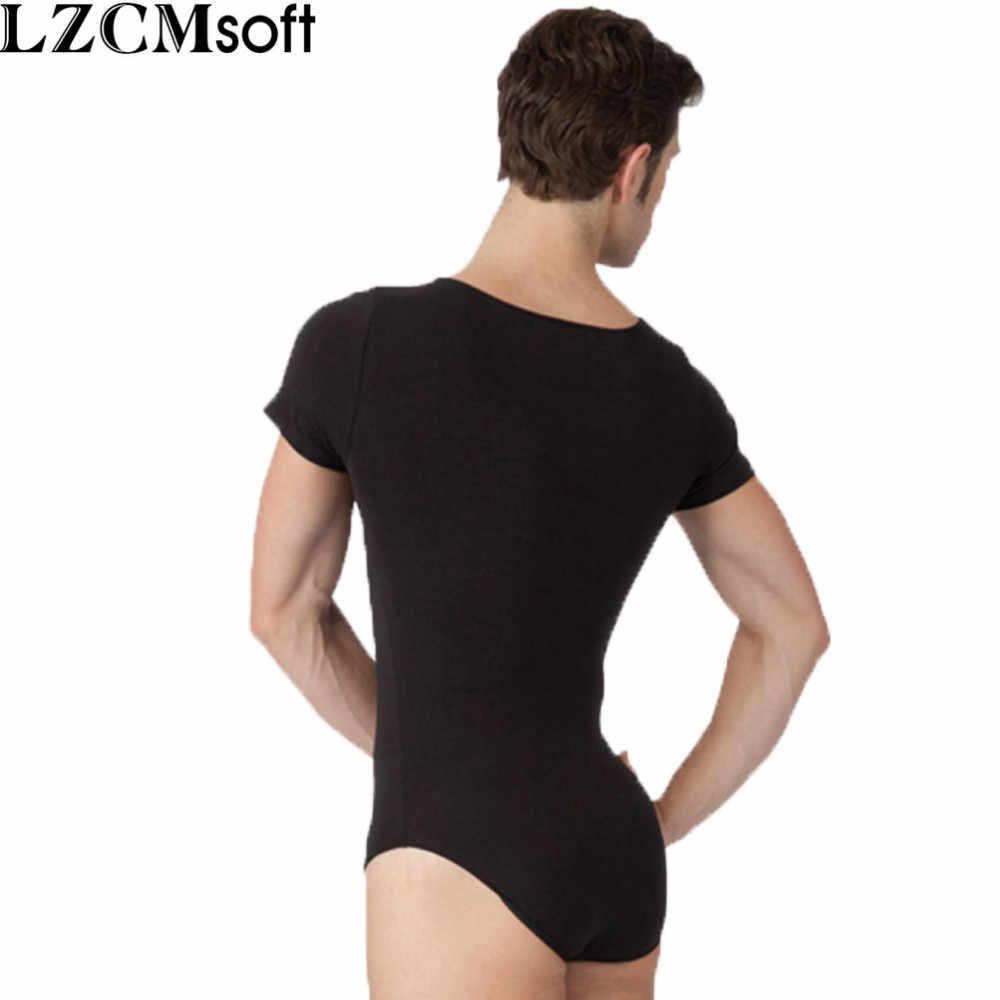 ea712eb0972 LZCMsoft Mens Short Sleeve Leotard One Piece Bodysuits For Male Dancers And  Gymnasts Spandex Black Ballet Leotards Dancewear