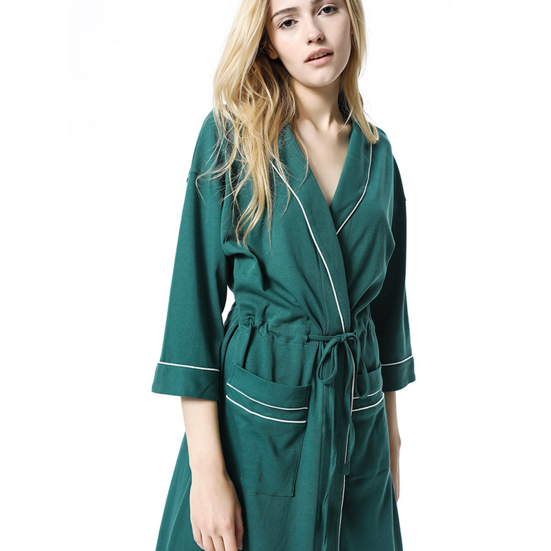 Autumn Sleepwear Robe Female Green Nightgown Ladies Women Bathrobe Winter Kimono Night Wear Robe Gown Long Housecoat Kimano T378