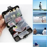 SALE 128pcs/set Rock Fishing Accessories Kit PP ABS Fishhooks Lead Sinker Swivel Connector Steel Wire Set