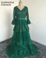 Vestido De Festa V Neck Long Sleeve Evening Dress 2017 Lace Beaded Tulle Green Evening Gowns