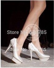 Neue 2014 Silk Satin Party Hochzeit Schuhe Brautschuhe Pumpen High Heel Schuhe Wasserdichte Plattform Modemarke Kleid Schuhe D1962